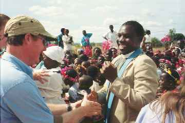 Duane greeted by Rev Gondwe at Elangeni
