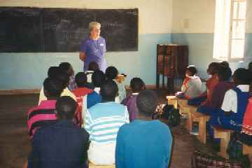 Kathryn teaching at Embangweni Primary