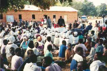 Outdoor worship service at Engalaweni