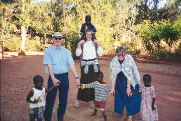 Duane, Jill, Carol with kids at Embangweni